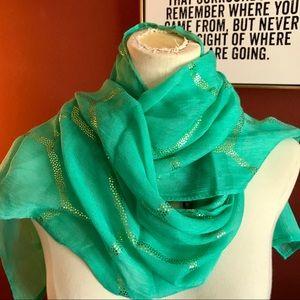 """""""5 x $25"""" Beautiful green & gold scarf"""